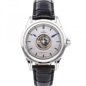 Omega Silver Platinum De Ville Tourbillon 5943.40.31 Men's Wristwatch 39 MM