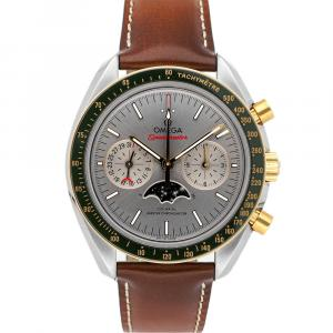 Omega Grey 18K Yellow Gold And Stainless Steel Speedmaster Moon Phase Chronograph 304.23.44.52.06.001 Men's Wristwatch 44 MM
