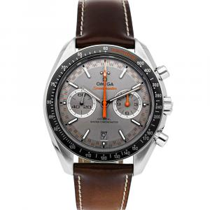 Omega Grey Stainless Steel Speedmaster Racing Chronograph 329.32.44.51.06.001 Men's Wristwatch 44 MM