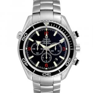 Omega Black Stainless Steel Seamaster Planet Ocean Chronograph 2210.51.00 Men's Wristwatch 45 MM