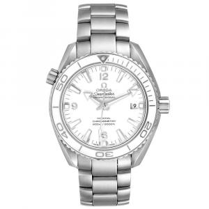 Omega White Stainless Steel Seamaster Planet Ocean 600M 232.30.42.21.04.001 Men's Wristwatch 42 MM