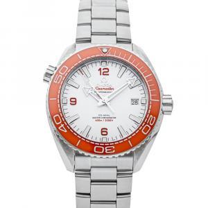Omega White Stainless Steel Seamaster Planet Ocean 600m 215.30.44.21.04.001 Men's Wristwatch 43..5 MM