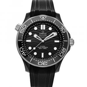 Omega Black Ceramic And Titanium Seamaster Diver 300m 210.92.44.20.01.001 Men's Wristwatch 43.5 MM