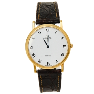 Omega Vintage White 18K Yellow Gold & Leather De Ville 195.2378 Men's Wristwatch 32 mm