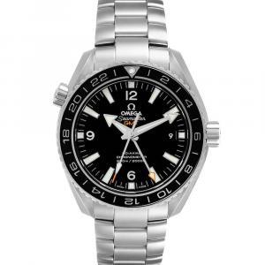 Omega Black Stainless Steel Seamaster Planet Ocean GMT 232.30.44.22.01.001 Men's Wristwatch 43.5 MM