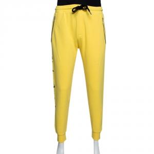 Palm Angels Yellow Side Logo Print Cotton Jogging Pants L