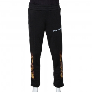 Palm Angels Black Synthetic Flames Track Pants M