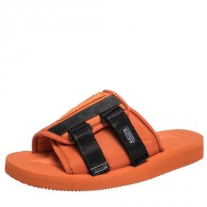 Palm Angels x Suicoke Orange/Black Canvas And Nylon Slide Sandals Size 42