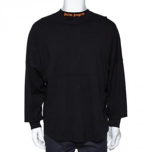 Palm Angels Black Cotton Neon Logo Print Long Sleeve T Shirt M