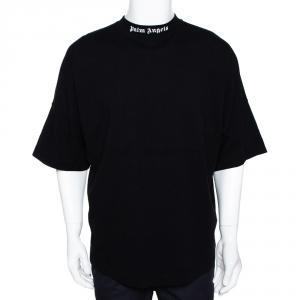 Palm Angels Black Logo Print Cotton Oversized T-Shirt M