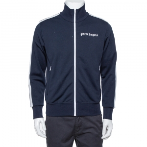 Palm Angels Navy Blue Jersey Contrast Trim Detail  Track Jacket M