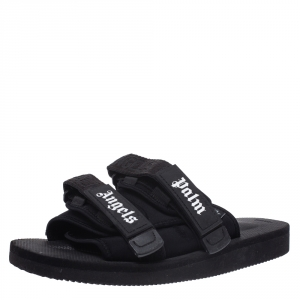 Palm Angels x Suicoke Black Fabric And Nylon Slide Sandals Size 42