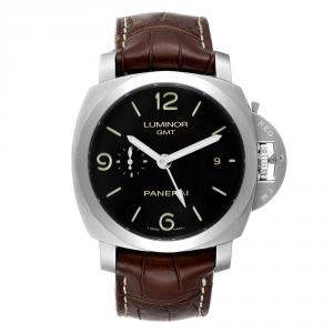Panerai Black Stainless Steel Luminor 1950 3 Days GMT PAM00320 Men's Wristwatch 44 MM