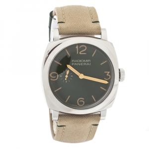 Panerai Green Stainless Steel Canvas Radiomir PAM00995 Men's Wristwatch 45 mm