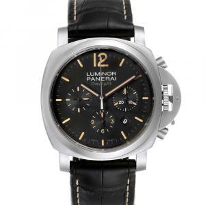 ساعة يد رجالية بانيراي لومينور داي لايت كرونوغراف PAM00356  ستانلس ستيل سوداء 44مم