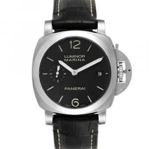 Panerai Black Stainless Steel Luminor Marina 1950 3 Days PAM00392 Men's Wristwatch 42 MM