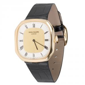 Patek Philippe White 18K Yellow Gold and Leather Ellipse 3855 Men's Wristwatch 30MM