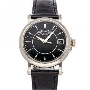Patek Philippe Black 18K White Gold Calatrava Date 5153G-001 Men's Wristwatch 38 MM