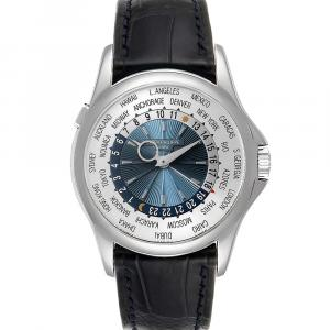 Patek Philippe Blue Platinum World Time Complications 5130 Men's Wristwatch 39.5 MM
