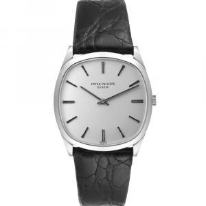 Patek Philippe Silver 18k White Gold Vintage 3544 Men's Wristwatch 32 MM