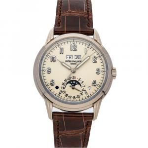 Patek Philippe Cream 18K White Gold Grand Complications Perpetual Calendar 5320G-001 Men's Wristwatch 40 MM