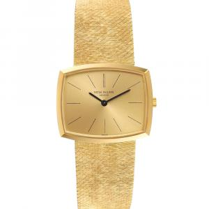 Patek Philippe Champagne 18K Yellow Gold Gondolo Vintage 3528 Men's Wristwatch 26 x 32 MM