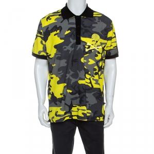Philipp Plein Yellow Camouflage Print Cotton Volantine Polo T-Shirt 3XL