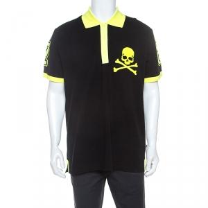 Philipp Plein Black and Yellow Cotton Skull Detail Sea Polo T-Shirt 3XL