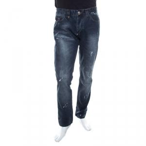 Philipp Plein Illegal Fight Club Indigo Crystal Skull Embellished Distressed Straight Cut Jeans L