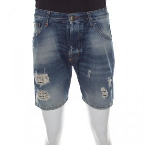 Philipp Plein Illegal Fight Club Indigo Faded Effect Denim Distressed Miami Cut Shorts S