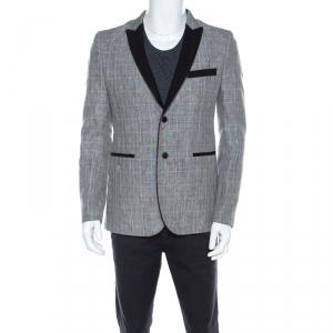 Philipp Plein Grey Plaid Linen and Wool Skull Motif Blazer M