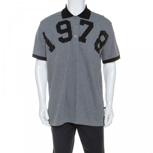 Philipp Plein Grey Cotton Crystal Detail Polo Shirt 3XL