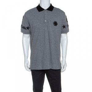 Philipp Plein Grey Cotton Embellished Detail Unstoppable Polo T-Shirt 3XL