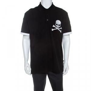 Philipp Plein Black Crystal Detail Face Swap Polo T-Shirt 3XL