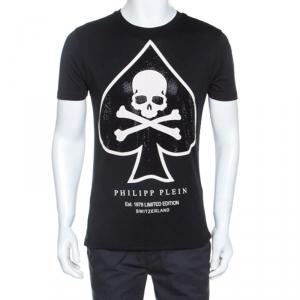 Philipp Plein Black Skull Print Cotton Crystal Embellished T-Shirt L
