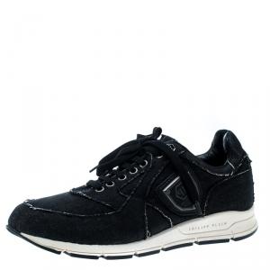 Philipp Plein Black Denim Sneakers Size 39