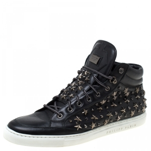 Philipp Plein Black Leather Star And Spike Studded High Top Sneakers Size 43