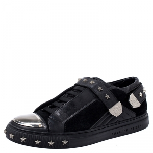 Philipp Plein Black Leather And Suede Star Studded Metal Cap Toe Low Top Sneakers Size 40