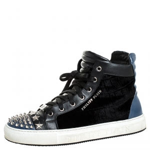 Philipp Plein Black/Blue Leather And Velvet Star And Spike Studded High Top Sneakers Size 42