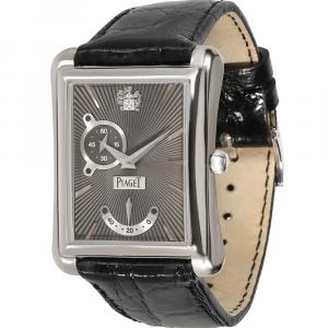 Piaget Grey 18K White Gold Emperador P10566 Men's Wristwatch 30 MM