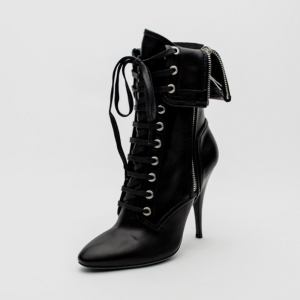 Giuseppe Zanotti For Pierre Balmain Black Leather Lace-Up Folded Boots Size 37