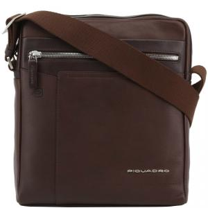 Piquadro Dark Brown Leather Messenger Bag