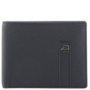 Piquadro Navy Blue Leather Bifold Wallet