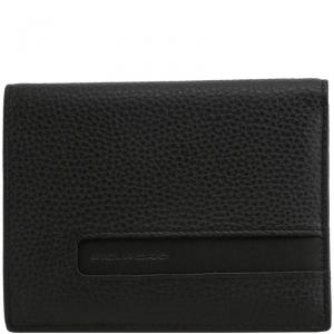Piquadro Black Pebbled Leather Bifold Wallet
