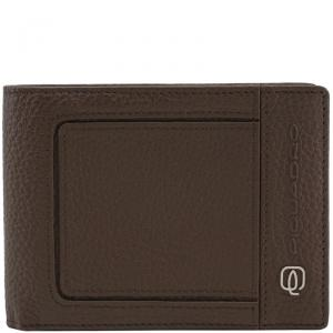 Piquadro Brown Pebbled Leather Bifold Wallet