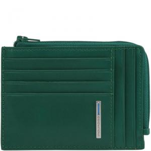 Piquadro Green Leather Credit Card Holder