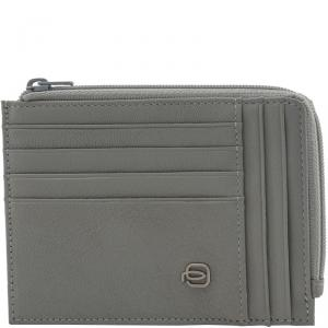 Piquadro Grey Leather Credit Card Holder