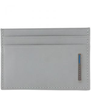 Piquadro Light Grey Leather Card Holder