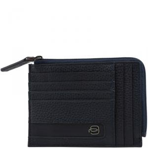 Piquadro Navy Blue Leather Credit Card Holder