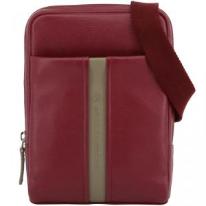 Piquadro Red Leather Messenger Bag